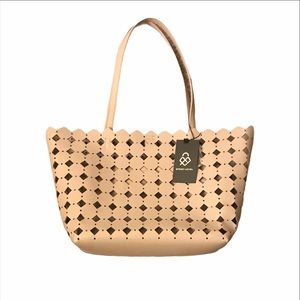 Street Level East West Tote Laser Cut Detail Taupe